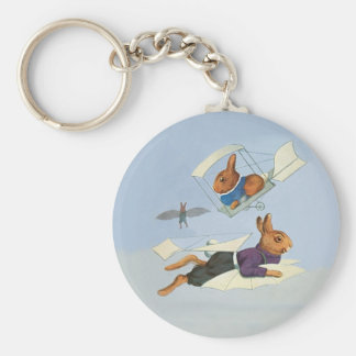 High-Flying Rabbits - Funny Vintage Bunnies Basic Round Button Keychain