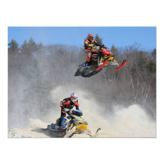 High Flying Snowmobile Print