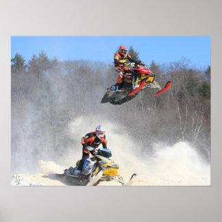 High Flying Snowmobile Print
