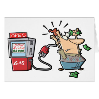 High Gas Prices Cartoon Characters Card