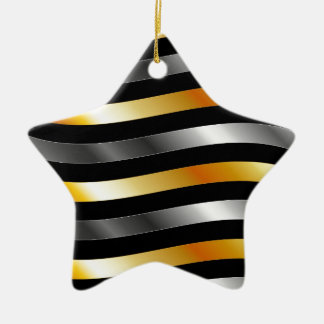 High grade gold metal waves Double-Sided star ceramic christmas ornament