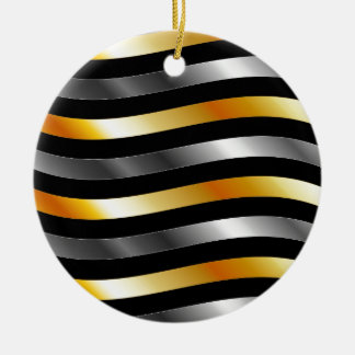 High grade gold metal waves Double-Sided ceramic round christmas ornament