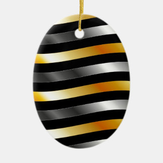 High grade gold metal waves Double-Sided oval ceramic christmas ornament