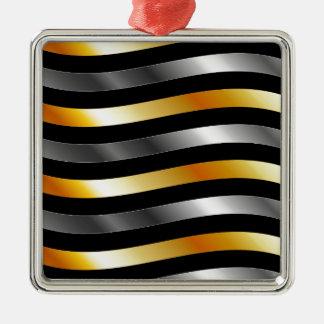 High grade gold metal waves square metal christmas ornament