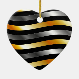 High grade gold metal waves Double-Sided heart ceramic christmas ornament