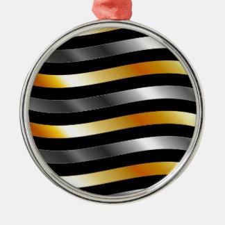 High grade gold metal waves round metal christmas ornament