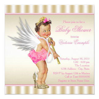 High Heel Angel Pink Gold Baby Girl Shower Card