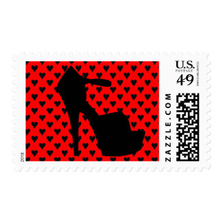 HIGH HEEL CHERRY RED HEARTS STAMP