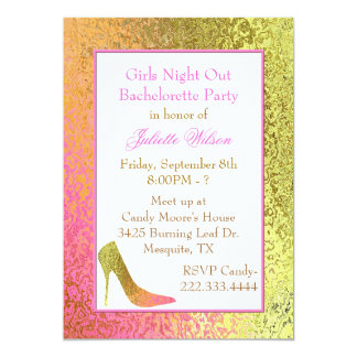 High Heel Foil Look Bachelorette Party Invitation