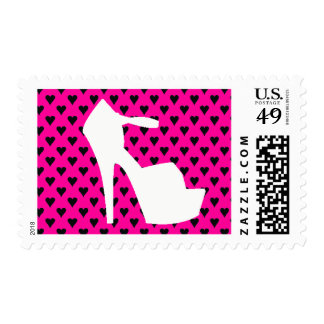 HIGH HEEL HOT PINK HEARTS STAMP