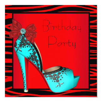 High Heel Red Teal Blue Zebra Birthday Party Card