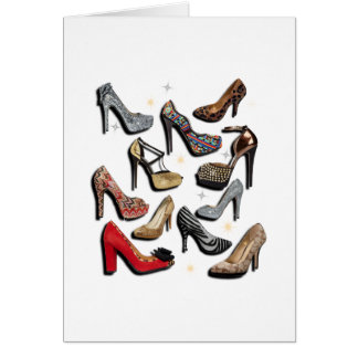 High Heel Shoe Collage Sparkle Fashion Pumps Cards
