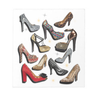 High Heel Shoe Collage Sparkle Fashion Pumps Notepad