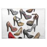 High Heel Shoe Collage Sparkle Fashion Pumps Place Mat