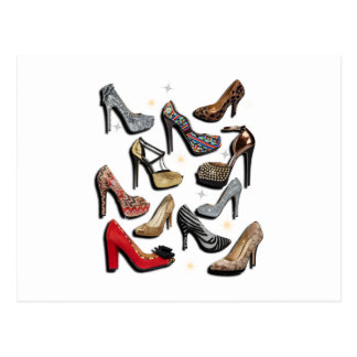 High Heel Shoe Collage Sparkle Fashion Pumps Postcard