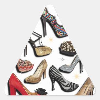 High Heel Shoe Collage Sparkle Fashion Pumps Triangle Sticker