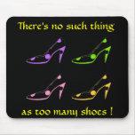 High Heel Shoe Diva- pastel on black Mouse Pads