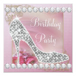 High Heel Shoe Dusty Pink Birthday Party Personalized Announcement