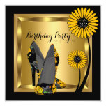 High Heel Shoe Floral Yellow Black Birthday Party Invitation