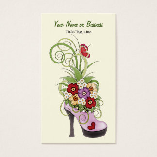 High Heel Shoe Flowers Business or Personal Card