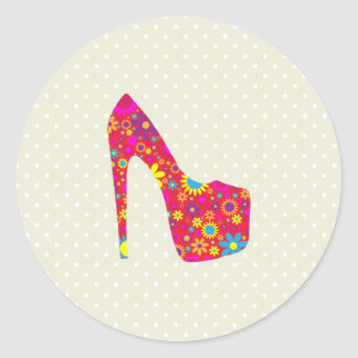 High Heel Shoe, Flowers - Red Yellow Blue Classic Round Sticker