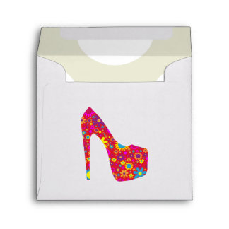 High Heel Shoe, Flowers - Red Yellow Blue Envelope