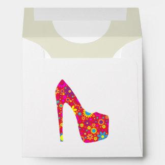 High Heel Shoe, Flowers - Red Yellow Blue Envelope