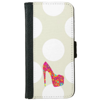 High Heel Shoe, Flowers - Red Yellow Blue iPhone 6 Wallet Case