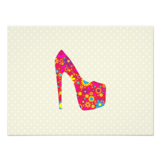 High Heel Shoe, Flowers - Red Yellow Blue Photographic Print