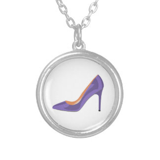 High Heel Shoe in Ultra Violet Silver Plated Necklace