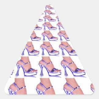 High Heel Shoe Pumps Purple Fashion ladies Triangle Sticker