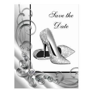 High Heel Shoe Save The Date Postcard