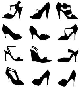 High Heel Shoe Silhouette Pattern Shower Curtain