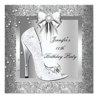 High Heel Shoe Silver Gray Birthday Party Card