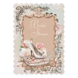 High heel shoes bridal shower invitations announcements zazzle high heel shoe vintage bridal shower card filmwisefo Images
