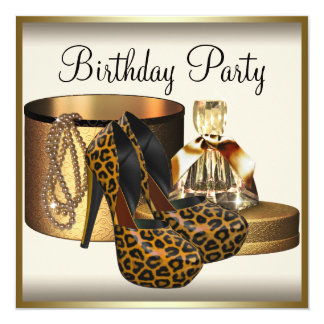 High Heel Shoe Womans Cream Gold Birthday 5.25x5.25 Square Paper Invitation Card