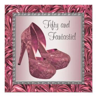 High Heel Shoe Womans Pink 50th Birthday Card