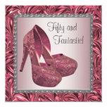 High Heel Shoe Womans Pink 50th Birthday Custom Invite