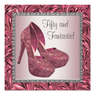 High Heel Shoe Womans Pink 50th Birthday 5.25x5.25 Square Paper Invitation Card