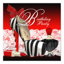 High Heel Shoes Black Red Zebra Party Invitation