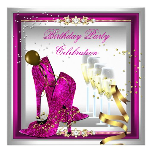 High Heel Shoes Champagne Pink Gold Silver Personalized Invitations