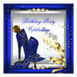 High Heel Shoes Champagne Royal Blue Gold Invites