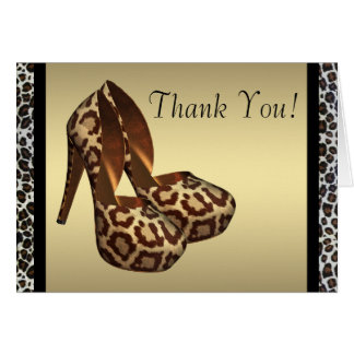 High Heel Shoes Gold Leopard Thank You Cards Note Card