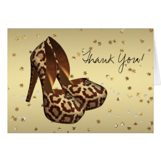 High Heel Shoes Gold Leopard Thank You Cards