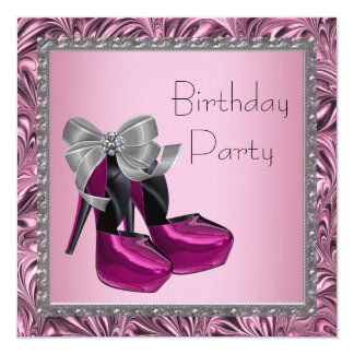High Heel Shoes Hot Pink Black Birthday Party Announcements