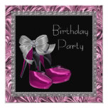 High Heel Shoes Hot Pink Black Birthday Party Personalized Announcement