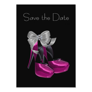 High Heel Shoes Hot Pink Black Save The Date 5x7 Paper Invitation Card