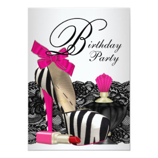 High Heel Shoes Hot Pink Zebra Party 5x7 Paper Invitation Card