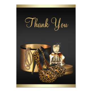 """High Heel Shoes Leopard Gold Thank You Card 5"""" X 7"""" Invitation Card"""