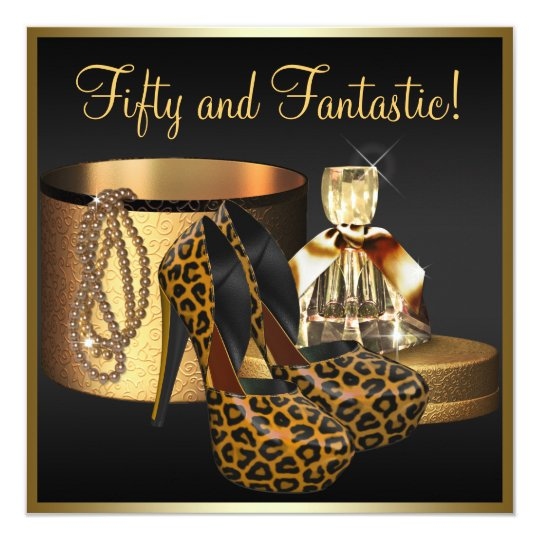 High Heel Shoes Leopard Gold Womans 50th Birthday Card